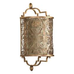 Quorum Lighting - Quorum Lighting French Damask Traditional Wall Sconce X-81-7955 - This Quorum Lighting French Damask Traditional Wall Sconce is an elegant and sophisticated piece. Notice the shade's intricate, laser cut damask pattern in a beautiful, vintage pewter finish. It's reminiscent of Parisian luxury and style, and will certainly light any space in your home in style.