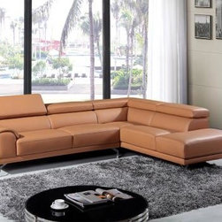 Colorful Sofas - Modern Camel Leather Sectional Sofa w/ Right Facing Chaise