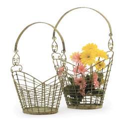 Set of Two Stork Baskets - Furnish your space with intricately designed Set of Two Stork Baskets.  The metallic finish of this foxy set is so lustrous that can illuminate the aura of any type of urban home decor. Just place your favorite flowers in this wonderful set and enjoy the soothing yet blossoming fragrance of the fresh flowers.