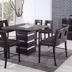 Unique Sqaure Wood and Frosted Glass Top Leather Modern Dinette Sets and Chairs - Wenge modern counter height dining set. The Dining Chairs are an excellent addition to the Dining Table. The Chairs have bicast leather look cushions.