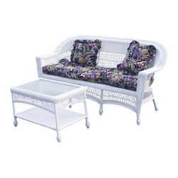 "Wicker Paradise - Cape Cod Wicker Sofa White - The Cape Cod white wicker sofa is built on an aluminum frame for your outdoor enjoyment.  The seat is fully woven resin wicker that is comfortable enough to be used with or without a cushion. It has a classic look that will never go out of style. The sofa measures 72"" wide, 28"" deep, 37"" high.  Cushions and table are sold separately."