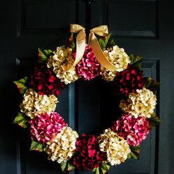 Warm Welcoming Wreath by HomeHearthGarden - A warm and welcoming combination of pink, cream, and burgundy hydrangea colors. The wreath is handcrafted on a grapevine base with artificial hydrangea flowers and greenery.