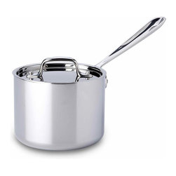 All Clad - All Clad SS Saucepan, 2 qt. - Timeless design, outstanding performance, effortless cleaning and lifetime durability come together to make the Stainless Collection cookware  All-Clads most popular. Featuring innovative bonded construction combining an interior layer of aluminum for even heating and an 18/10 stainless cooking surface for optimum culinary performance, All-Clad Stainless cookware is a classic expression of ideal form and function. Premium tri-ply construction with an aluminium core to deliver even heat distribution.