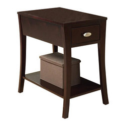 "ACMACM80295 - Corin Espresso Finish Wood Chair Side End Table with Drawer and Curved Legs - Corin espresso finish wood chair side end table with drawer and curved legs. Measures 14"" x 22"" x 23"" H. Some assembly required."