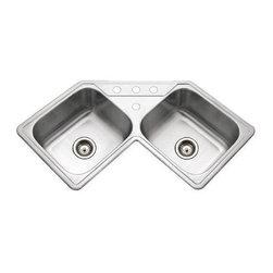 Houzer - Houzer Legend Top Mount Double Bowl Corner Sink, Satin (LCR-3221-1) - Houzer LCR-3221-1 Legend Top Mount Double Bowl Corner Sink, Satin