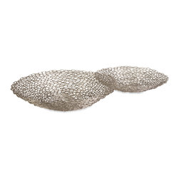 iMax - Links Decorative Bowls, Set of 2 - Chain links are welded into this set of two decorative bowls to add a subtle industrial element to any room!