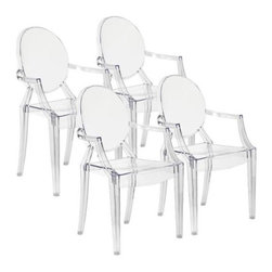 """Zuo - Set of 4 Zuo Anime Transparent Dining Chairs - Simple and sophisticated, this set of four Anime transparent dining chairs are made of durable and flexible acrylic. They also feature a stackable design so that they can be easily stacked and stored when not in use. With elegant rounded backs and angled arms, these chairs are sure to dress up your dining area. Design by Zuo Modern. Set of 4. Acrylic construction. Transparent dining chairs. Stackable design. 36 1/2"""" high, 21"""" wide, and 16"""" deep. 18"""" seat height."""