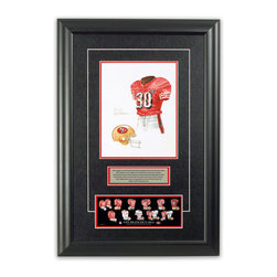 "Heritage Sports Art - Original art of the NFL 1994 San Francisco 49ers uniform - This beautifully framed piece features an original piece of watercolor artwork glass-framed in an attractive two inch wide black resin frame with a double mat. The outer dimensions of the framed piece are approximately 17"" wide x 24.5"" high, although the exact size will vary according to the size of the original piece of art. At the core of the framed piece is the actual piece of original artwork as painted by the artist on textured 100% rag, water-marked watercolor paper. In many cases the original artwork has handwritten notes in pencil from the artist. Simply put, this is beautiful, one-of-a-kind artwork. The outer mat is a rich textured black acid-free mat with a decorative inset white v-groove, while the inner mat is a complimentary colored acid-free mat reflecting one of the team's primary colors. The image of this framed piece shows the mat color that we use (Red). Beneath the artwork is a silver plate with black text describing the original artwork. The text for this piece will read: This original, one-of-a-kind watercolor painting of the 1994 San Francisco 49ers uniform is the original artwork that was used in the creation of this San Francisco 49ers uniform evolution print and tens of thousands of other San Francisco 49ers products that have been sold across North America. This original piece of art was painted by artist Nola McConnan for Maple Leaf Productions Ltd.  1994 was a Super Bowl winning season for the San Francisco 49ers. Beneath the silver plate is a 3"" x 9"" reproduction of a well known, best-selling print that celebrates the history of the team. The print beautifully illustrates the chronological evolution of the team's uniform and shows you how the original art was used in the creation of this print. If you look closely, you will see that the print features the actual artwork being offered for sale. The piece is framed with an extremely high quality framing glass. We have used this glass style for many years with excellent results. We package every piece very carefully in a double layer of bubble wrap and a rigid double-wall cardboard package to avoid breakage at any point during the shipping process, but if damage does occur, we will gladly repair, replace or refund. Please note that all of our products come with a 90 day 100% satisfaction guarantee. Each framed piece also comes with a two page letter signed by Scott Sillcox describing the history behind the art. If there was an extra-special story about your piece of art, that story will be included in the letter. When you receive your framed piece, you should find the letter lightly attached to the front of the framed piece. If you have any questions, at any time, about the actual artwork or about any of the artist's handwritten notes on the artwork, I would love to tell you about them. After placing your order, please click the ""Contact Seller"" button to message me and I will tell you everything I can about your original piece of art. The artists and I spent well over ten years of our lives creating these pieces of original artwork, and in many cases there are stories I can tell you about your actual piece of artwork that might add an extra element of interest in your one-of-a-kind purchase."