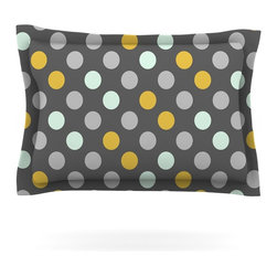 """Kess InHouse - Pellerina Design """"Minty Polka"""" Gray Pillow Sham (Woven, 30"""" x 20"""") - Pairing your already chic duvet cover with playful pillow shams is the perfect way to tie your bedroom together. There are endless possibilities to feed your artistic palette with these imaginative pillow shams. It will looks so elegant you won't want ruin the masterpiece you have created when you go to bed. Not only are these pillow shams nice to look at they are also made from a high quality cotton blend. They are so soft that they will elevate your sleep up to level that is beyond Cloud 9. We always print our goods with the highest quality printing process in order to maintain the integrity of the art that you are adeptly displaying. This means that you won't have to worry about your art fading or your sham loosing it's freshness."""