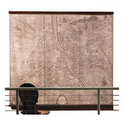 Authentic Models - Authentic Models Paris Wall Map - Display this wall map on any empty wall space in your classroom, home or office and enjoy viewing Paris back in 1739! Originally hand drawn by  Etienne Turgot, this project took 5 years with true to detail including any chimney's or garages.  Turgots Plan de Paris (in 3 wall scrolls on fabric, or as a 25 sheet art paper portfolio) is a remarkable technical achievement, a flight of the imagination created many years before the first manned balloon flight and the invention of photograph.      * Dimensions: