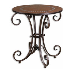 Uttermost - Silver Unique Table Hand Forged Metal Base Studded Leather Home Decor - Silver unique decorative table with hand forged metal base and studded faux leather top home accent decor