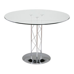 "Euro Style - Euro Style Trave 42"" Dining Table // Chrome Base - Clear glass top and industrial strength base make Trave the first name in lasting style. The statement is crisp lines and clear strength. Sitting or standing room only!"