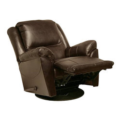 Catnapper - Catnapper Maverick Chaise Swivel Glider Recliner Chair in Java - Catnapper - Recliners - 45465121509301509 -Designed for ultimate comfort, the Maverick Chaise Swivel Glider Recliner by Catnapper offers Massive Scale and Incredible Comfort. This amazing recliner features supportive headrest, deluxe pub back with decorative wings, radius arms, and plush comfort. This massive recliner can swivel 360 degrees and is available in three colors; stone microfiber, saddle microfiber, and java bonded leather. The rich upholstery is additionally enhanced by detailed sewing. Create the ultimate in relaxing living space with the comfort and style of the Maverick Chaise Swivel Glider Recliner!