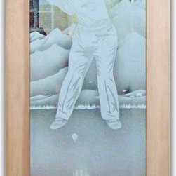 """Interior Glass Doors - Desert Golfer 2D - CUSTOMIZE YOUR INTERIOR GLASS DOOR!  Interior glass doors or glass door inserts.  .Block the view, but brighten the look with a beautiful interior glass door featuring a custom frosted glass design by Sans Soucie!  ship for just $99 to most states, $159 to some East coast regions, custom packed and fully insured with a 1-4 day transit time.  Available any size, as interior door glass insert only or pre-installed in an interior door frame, with 8 wood types available.  ETA will vary 3-8 weeks depending on glass & door type........  Select from dozens of sandblast etched obscure glass designs!  Sans Soucie creates their interior glass door designs thru sandblasting the glass in different ways which create not only different levels of privacy, but different levels in price.  Bathroom doors, laundry room doors and glass pantry doors with frosted glass designs by Sans Soucie become the conversation piece of any room.   Choose from the highest quality and largest selection of frosted decorative glass interior doors available anywhere!   The """"same design, done different"""" - with no limit to design, there's something for every decor, regardless of style.  Inside our fun, easy to use online Glass and Door Designer at sanssoucie.com, you'll get instant pricing on everything as YOU customize your door and the glass, just the way YOU want it, to compliment and coordinate with your decor.   When you're all finished designing, you can place your order right there online!  Glass and doors ship worldwide, custom packed in-house, fully insured via UPS Freight.   Glass is sandblast frosted or etched and bathroom door designs are available in 3 effects:   Solid frost, 2D surface etched or 3D carved. Visit our site to learn more!"""