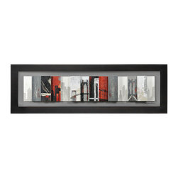 Ren-Wil - Crossing Over Rectangular Framed Art - In this paneled and multi-leveled work we catch glimpses of a city as it flashes by in greys, red and blacks. This piece is framed by a classic black frame.