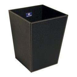 WS Bath Collections - Ecopelle 2603BK Waste Basket, Black - Ecopelle 2603 by WS Bath Collections 16.9 x 10.2 x 18.9 Waste Basket, External Coating Synthetic Leather, Linen Synthetic Cloth, Structure in MDF Fibreboard