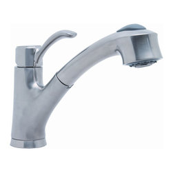 Premier Faucet - Premier Sanibel Lead-Free Single-Handle Pull-Down Kitchen Faucet in Brushed Nick - This is a brand new faucet from Premier (model # 284455). The Sanibel kitchen pull-out faucet switches between a steady stream and a powerful spray with the touch of a button. The pull-out spout, with its long retractable sprayer hose, provides the ultimate level of convenience and functionality—clean, rinse, and spray in any part of your sink. With its extra reach, the Sanibel pull-out kitchen faucet makes filling cookware and after-meal cleanup even easier. Its streamlined design blends well into any kitchen décor. The Sanibel faucet features a ceramic disc cartridge for superior performance, a single metal lever handle for precise volume and temperature control, and quality lead-free brass construction for years of reliable service. It includes an optional deck plate for three-hole sink installations. For four-hole sinks, add a matching soap dispenser (sold separately) in brushed nickel. This faucet complies with the requirements of the Americans with Disabilities Act and also meets the strict lead-free standards of the Safe Drinking Water Act.  This faucet is featured in a beautiful brushed nickel finish. The physical vapor deposition (PVD) finish process creates a brushed nickel finish that is exceptionally strong and resistant to scratching, tarnishing, corrosion, and discoloration. For convenience, style, and durable performance, select a Sanibel pull-out faucet for your kitchen sink.