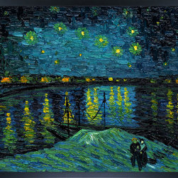 overstockArt.com - Van Gogh - Starry Night Over The Rhone Oil Painting - Hand painted oil reproduction of one of the most famous Van Gogh paintings, Starry Night Over the Rhone. Today it has been carefully recreated detail-by-detail to near perfection as a complete canvas art reproduction. One of today's most recognized paintings, Starry Night by Vincent Van Gogh is a classic painting that invokes emotions from the serenity of the church steeple to the wild abandon of color used for his late night sky. Imagine the movement of the painter as he twists and turns his brush to create the dance between the stars and the clouds under the calm, peaceful village. Vincent Van Gogh's restless spirit and depressive mental state fired his artistic work with great joy and, sadly, equally great despair. Known as a prolific Post-Impressionist, he produced many paintings that were heavily biographical. This work of art has the same emotions and beauty as the original by Van Gogh. Why settle for a print when you can add sophistication to your rooms with a beautiful fine gallery reproduction oil painting?