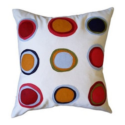 "Balanced Design - Mona Applique Pillow - Rejoice, for you can have color with your organic home accessories! The long wait for something better than boring organic cotton products of the past is over. Pillows allow you to decorate your home with modern and colorful accents that use organic materials. These pillows showcase good design, lovely color, great shape and crisp form-all balanced with a simple goal: to reduce, reuse, and recycle. Designed by: Melinda Cox Features: -Applique Pillows collection. -Available in 100% organic cotton flannel and wool felt or 100% natural linen fabric and wool felt. -Insert constructed from 50% regenerated fiber. -Zipper closure. -Made from recycled plastic bottles and 50% 95/5 feather. -Hand made in the USA. -Linen pillows need to be spot cleaned or washed separately in cold water with mild detergent and line dried; Flannel pillows need to be dry cleaned . -Overall dimensions: 22"" W x 22"" D."