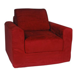 """Fun Furnishings - Fun Furnishings Micro Suede Kids Chair Sleeper - 20231 - Shop for Childrens Sofas from Hayneedle.com! This versatile Chair Sleeper offers the perfect size for your child and the perfect construction for you. The high-density foam cushioning is not only soft and durable but fire-resistant as well for lots of safe comfortable use. Your child will love sitting in this sharp adult-style chair and will be thrilled to have a friend over who can use the fold-out sleeper for a bed. Whether it sits alongside the grown-up furniture in the living room or den or completes the kids' bedroom this chair sleeper will quickly become a favorite spot for your child. Recommended age 1-5 years. 100% cotton with 100% polyester cover. Overall chair dimensions: 25W x 25D x 20H inches. Sleeper dimensions: 15W x 47L inches. About Fun FurnishingsFun Furnishings has been a family-owned business since it began making top-quality furniture for kids in 1993. Fun Furnishings' pieces combine bright colors kid-friendly sizes and comfortable durable materials to create chairs sofas and other units that are both enjoyable and practical. Also popular are their unique offerings for """"tweens """" teens and other kids who aren't interested in adult styles but have outgrown toddlers' sizes patterns and colors."""
