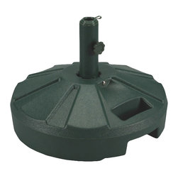 "Patio Living Concepts - Patio Living Concepts Umbrella Base Stands 00262 Umbrella Stand in Green - 00262 Umbrella Stand in Green belongs to Umbrella Base Stands Collection by Patio Living Concepts Molded resin umbrella stand with stainless steel hardware. For use with freestanding umbrellas up to a 1 - 5/8"" diam. pole. Easy fill spout and cap to secure up to 50 lbs. of sand filler for weight. Umbrella Stand (1)"