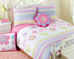 None - Blossom 2-piece Twin-size Quilt Set - The blossom print makes this quilt set a gorgeous addition to any little girl's room. The beautiful quilt is made from 100-percent cotton fabric with 100-percent cotton fiber fill and is pre-washed for a super-soft,cozy feel right out of the package.