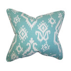 """The Pillow Collection - Baraka Ikat Pillow Blue - This toss pillow brings an exciting and exotic theme to your home. Spice up your sofa, bed or seat with this ikat-inspired throw pillow. Featuring a blue and white color combination, this 18"""" pillow lends a pop of color to your living space. Crafted with 100% high-quality cotton fabric and made in the USA."""