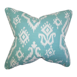 "The Pillow Collection - Baraka Ikat Pillow Blue 18"" x 18"" - This toss pillow brings an exciting and exotic theme to your home. Spice up your sofa, bed or seat with this ikat-inspired throw pillow. Featuring a blue and white color combination, this 18"" pillow lends a pop of color to your living space. Crafted with 100% high-quality cotton fabric and made in the USA."