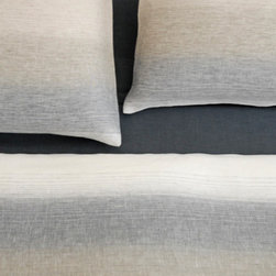 Area - Area INES White Linen Duvet - 100% pure linen. Yarn dyed dark and light grey and blue. Available in full/queen and king duvet covers.