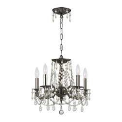 Crystorama - Crystorama Mirabella 1 Tier Chandelier in Pewter - Shown in picture: Clear Swarovski Spectra Wrought Iron Chandelier; The Mirabella Collection offers unique timeless designs that are small and compact enough to fit in the tiniest of spaces. With a variety of finishes and a range of crystal options to choose from - you can mix and match to coordinate with any decor.