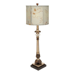 Benzara - Metal Buffet Lamp with Beige Colored Shade - Elegant in style and appearance, this metal buffet lamp is an excellent addition to your dining space. The beautiful buffet lamp has a grand and majestic appeal. This buffet lamp has a well crafted, beige colored lamp shade with floral designs. You can place the lamp in the living area as well to accent the beauty of your decor. Designed to complement both, traditional and contemporary setting, it displays a peculiar design. The stand and base have a vintage appeal and are covered with twisted sculpturing to enhance the overall design. The lamp stand is equipped with authentic electrical fittings and has a sturdy construction. It flaunts a metallic finish, and ensures long lasting use for you. It will be a nice present for the newly-wed couple. You will be gratefully remembered for this elegant choice of gift..