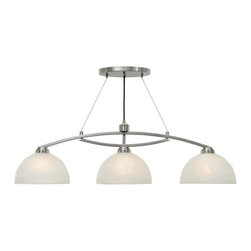 Golden Lighting - Golden Lighting Accurian PW Island Light - Free Shipping. Popular light Pewter finish Modern Transitional style Bowl shaped Marble glass Modern ?cable/rod? styling for contemporary home decor Illuminates a kitchen bar or similar area without interfering with activity at the surfaceSpecial Notes:  Steel side wire: 2 x 10' Fixture Height is adjustable, center cord is not retractable