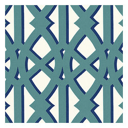 "Teal Trellis Indoor Outdoor Fabric - Oversized outdoor modern trellis in teal & blue. Phew_""""__no pruning needed!Recover your chair. Upholster a wall. Create a framed piece of art. Sew your own home accent. Whatever your decorating project, Loom's gorgeous, designer fabrics by the yard are up to the challenge!"