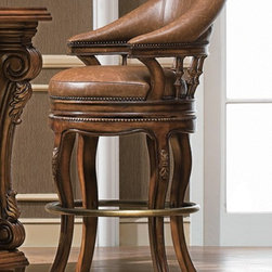 Yellowstone Bar Stool - Yellowstone Bar Stool in Antique Walnut finish and Soft Genuine Leather Seating. Own this heirloom furniture for your luxury home today.