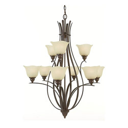Murray Feiss - Murray Feiss Morningside Transitional Chandelier X-ZBG3+6/2502F - Sweeping lines and contemporary curves add interest to the almost floral-like appearance of this Murray Feiss chandelier. From the Morningside Collection, it features two tiers of inverted cream snow glass shades for a warm, elegant glow. The look is complimented by a rich Grecian Bronze finish that highlights the subtle contemporary influencing.