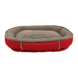 Carolina Pet Company - Faux Suede & Tipped Berber Round Comfy Cup - A statement in any room.  Rich red suede with tipped Berber sleep surface and accents.  Perfect comfort and support for any pet. 100% polyester fabric is machine washable.  100% high loft polyester fill keeps pets off cold floors for added comfort and relief on joints.