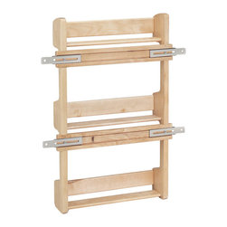 "Rev-A-Shelf - Rev-A-Shelf 4SR-21 Door Mount Spice Rack - Wood - Maple - Here is a new recipe for your kitchen. Cinnamon, nutmeg, salt, pepper...all organized. Yes, it is possible to keep all your spices accessible with this easy to install door mounted spice rack. Available in hardwood maple with a clear coated UV finish for long lasting durable use, the Rev-A-Shelf 4SR-21 Door Mount Spice Rack will help you increase shelf space and utilize wasted door space. Includes patented door mount brackets with up to 5"" of side to side adjustability for easy installation and beautiful chrome rails. Designed for 21"" wall cabinets. Physical specifications: 16-1/2"" W x 3-1/8"" D x 21-1/4"" H. Please make sure your cabinet has a minimum opening of at least 16-1/2"" W x 3-1/8"" D x 21-1/2"" H. Inner Shelf Dimensions: 14-3/8"" W x 2-5/8"" D - 8-5/8"" H between shelves."