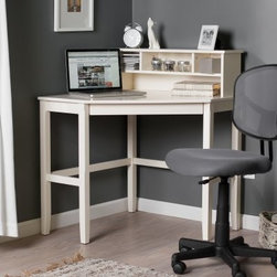 Corner Laptop Writing Desk with Optional Hutch - Vanilla - Create a workspace in any room with the Corner Laptop Writing Desk with Optional Hutch – Vanilla. Constructed of wood with a bright white finish this desk features a flip-down keyboard drawer which pulls out for use and then stores neatly at other times. The optional hutch provides one large lower storage area three cubbies and the top shelf surface. Hutch is also reversible and can be placed on the left or right side of the desk depending on your space needs. The clean and simple design of the desk and the hutch blend well with a variety of settings from a home office or spare bedroom to the kitchen or dining room. Wire management cut-outs on both the desk and the hutch keep cords organized and neatly stowed.
