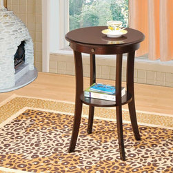 Coaster - Cappuccino Transitional Accent Table - This round accent table also features a catch-all storage drawer, perfect for writting utensils and other small items.