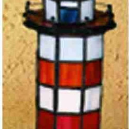 Meyda - 10 Inch Height x 3 Inch Width Hilton Head Lighthouse Accent Table Lamps - Color theme: Flame CA Grey