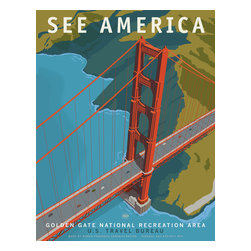 See America, Golden Gate Bridge National Recreation Area Print - See America poster celebrating the Golden Gate Bridge National Recreation Area. Celebrating the iconic bridge and surounds with a unique perspective. Illustration by Steven Thomas in 2013.