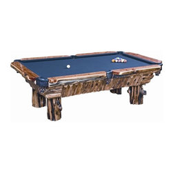 Fireside Lodge Furniture - Juniper Pool Log Table (Mercury Ultra -Basic - Fabric: Mercury Ultra -Basic GreenCedar Collection. 8 Ft. regulation table. 3 Pc, 1 in. thick slate top. Hand sewn leather pockets. Ball sights come standard with antique buffalo nickels. Many different colors of cloth available. Flared tree stump base for beautiful natural character. Made from burned Juniper reclaimed from Montana forest fires. Clear coat catalyzed lacquer finish for extra durability. 2-Year limited warranty. 108 in. L x 60 in. W x 32.5 in. H (1200 lbs.)