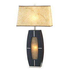 Nova - Delacy Table Lamp - 6 foot cord. 15W night light bulb included. Dark brown wood, brushed nickel accents. Unique, robust shade and screen material combines with light to give off a soft, warm glow. Modern, contemporary. Shade Material: Elephantine Parchment. Shade Dimensions: 6 x 15 - 8 x 17 x 10V. Switch Type: 4-way switch. 1 Year Limited Manufacturer Warranty. 17 in. W x 30 in. H, 7.59 lbs