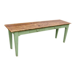 EcoFirstArt - 2 Drawer Antique Barnwood Desk - A new desk gives new life and inspiration to your work, especially when it's a reclaimed one-of-a-kind beauty like this one. It features a spruce top made of recycled antique doors, floor boards or other New England barn pieces. Best of all, it's custom made, so you can choose the woods, dimensions and colors.
