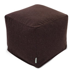 Majestic Home - Indoor Chocolate Wales Small Cube - A little bit of linen is all you need for a totally sophisticated look and feel. This update on the beanbag functions as a footstool, side table or comfy seat, kicking your favorite casual setting up a notch in style.