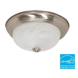 Glomar - Glomar 2-Light Flush-Mount Brushed Nickel Fluorescent Fixture HD-2622 - Shop for Lighting & Fans at The Home Depot. Use the Green Matters 2-Light Flush-Mount Brushed Nickel Fluorescent Fixture to bring out your style. Featuring an elegant brushed nickel finish, this fixture comes with 2 energy-efficient fluorescent bulbs. This may take up to 5 days in delivery.