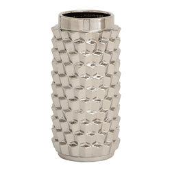 Benzara - Traditional and Lovely Style Ceramic Silver Vase Home Decor - Description: