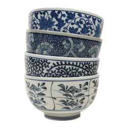 Blue Bowls - Here's a set of four blue and white Chinese bowls for food, jewelry, desk supplies — you name it.
