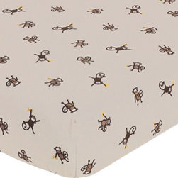 Sweet Jojo Designs - Monkey Print Crib and Toddler Sheet - The Monkey fitted crib sheet will help complete the look of your Sweet Jojo Designs nursery. This Monkey Print cotton sheet fits all standard crib and toddler mattresses and is machine washable for easy care.