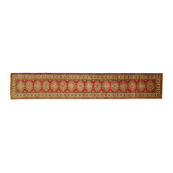 Manhattan Rugs - New Authentic Hand Knotted Narrow Kazak Runner 2x13 Geometric Red Wool Rug H3434 - Kazak (Kazakh, Kasak, Gazakh, Qazax). The most used spelling today is Qazax but rug people use Kazak so I generally do as well.The areas known as Kazakstan, Chechenya and Shirvan respectively are situated north of  Iran and Afghanistan and to the east of the Caspian sea and are all new Soviet republics.   These rugs are woven by settled Armenians as well as nomadic Kurds, Georgians, Azerbaijanis and Lurs.  Many of the people of Turkoman origin fled to Pakistan when the Russians invaded Afghanistan and most of the rugs are woven close to Peshawar on the Afghan-Pakistan border.There are many design influences and consequently a large variety of motifs of various medallions, diamonds, latch-hooked zig-zags and other geometric shapes.  However, it is the wonderful colours used with rich reds, blues, yellows and greens which make them stand out from other rugs.  The ability of the Caucasian weaver to use dramatic colours and patterns is unequalled in the rug weaving world.  Very hard-wearing rugs as well as being very collectable.